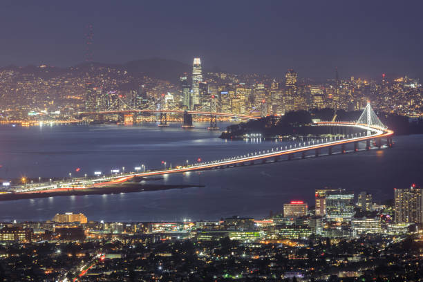 Winter evening views of Berkeley and San Francisco Waterfronts. stock photo