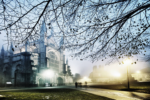 Winter evening, Winchester Cathedral stock photo