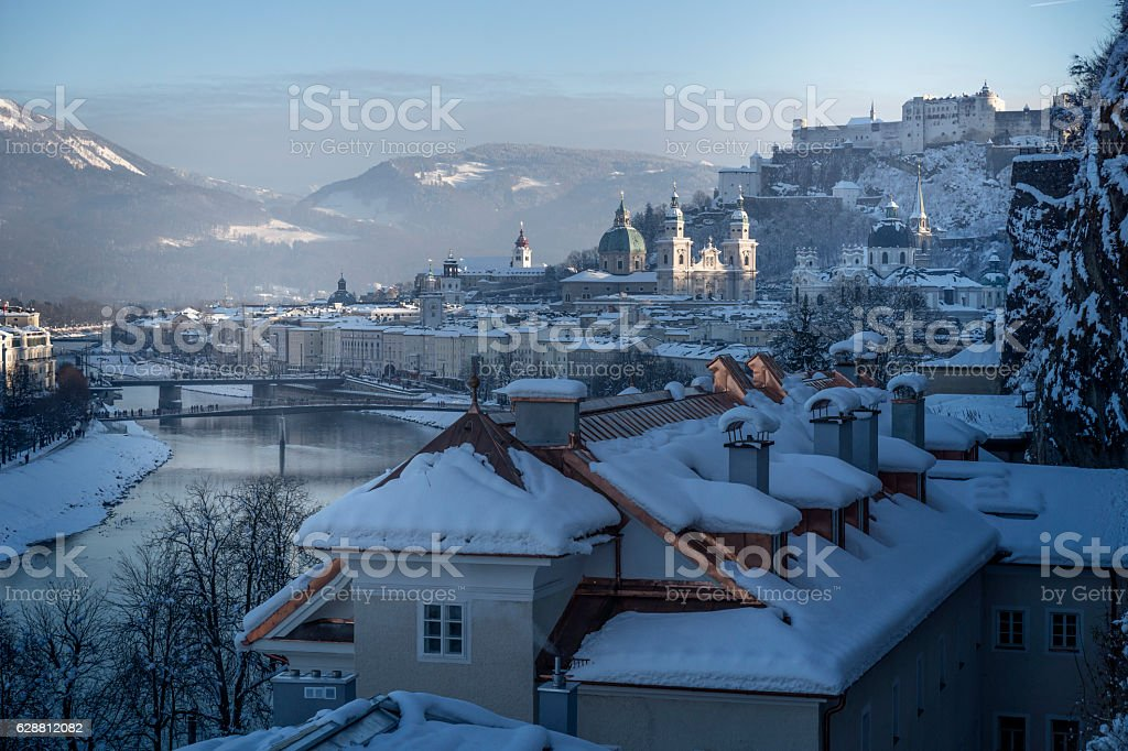 Winter fairy tale, old town of Salzburg with castle stock photo