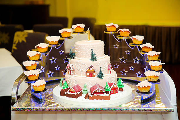 winter fairytale - big cake stock photos and pictures