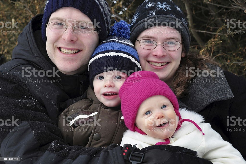Winter Family Hug royalty-free stock photo
