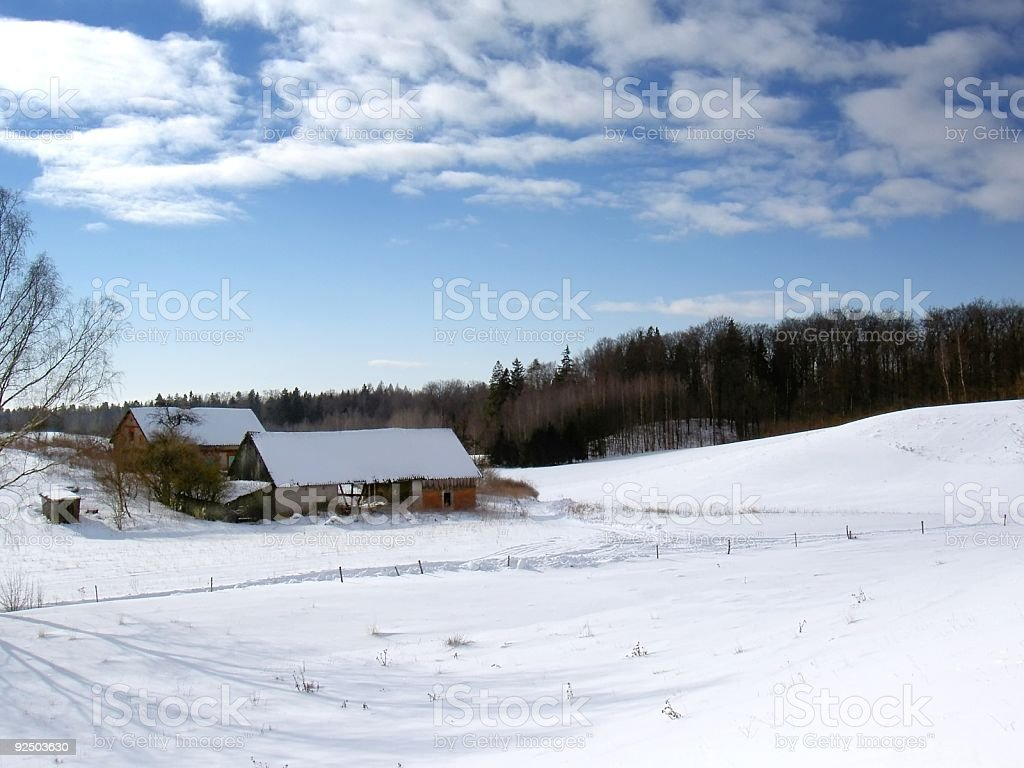 winter farm royalty-free stock photo