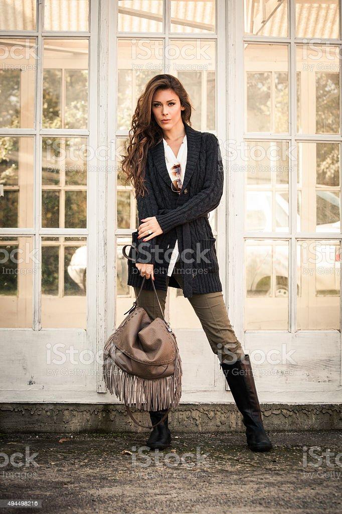 winter fashion woman stock photo