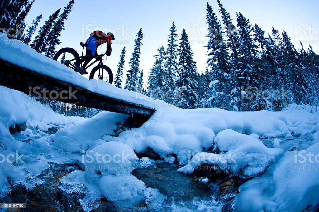 Winter Fat Bike Ride stock photo