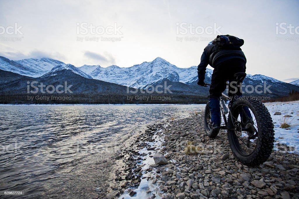 Winter Fat Biking in Canada stock photo