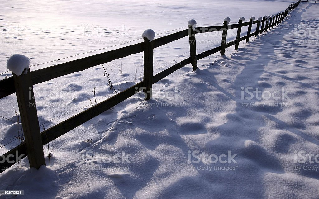 winter fence royalty-free stock photo
