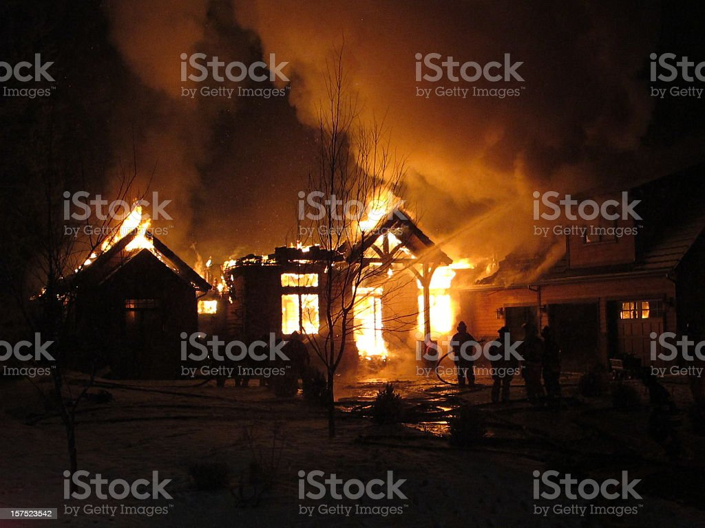 Winter fire stock photo
