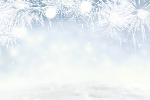 istock Winter Fireworks and bokeh with snowflake in New Year eve and copy space. Abstract background holiday. 1084993632