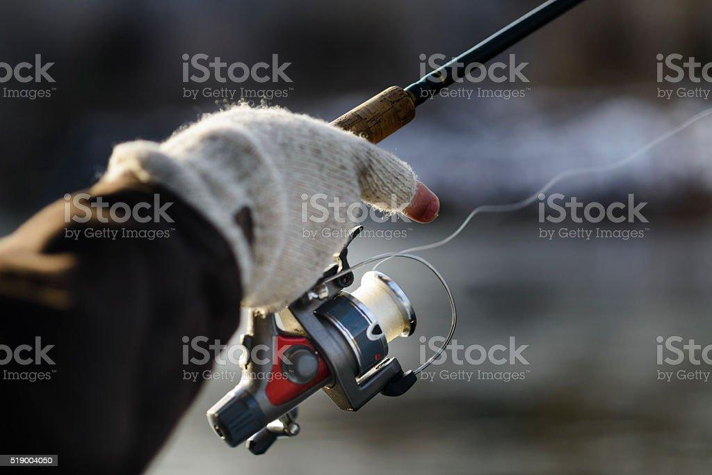 Winter Fishing Hand stock photo