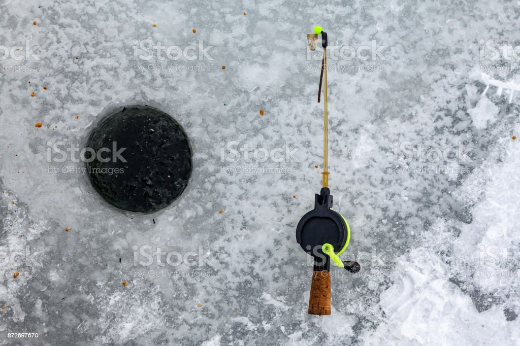 A winter fishing set stock photo
