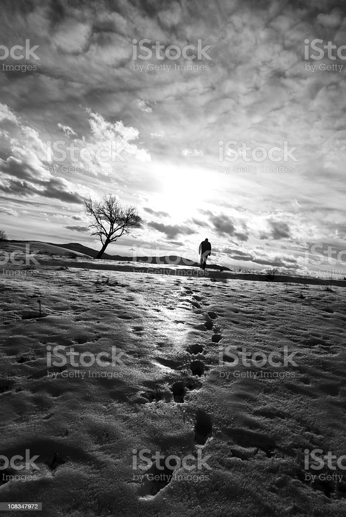 Winter, footprints, silhoutted and lens flare royalty-free stock photo