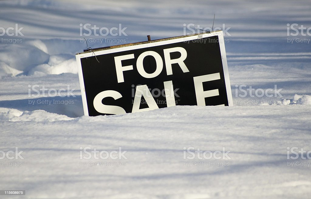 Winter For Sale Sign stock photo