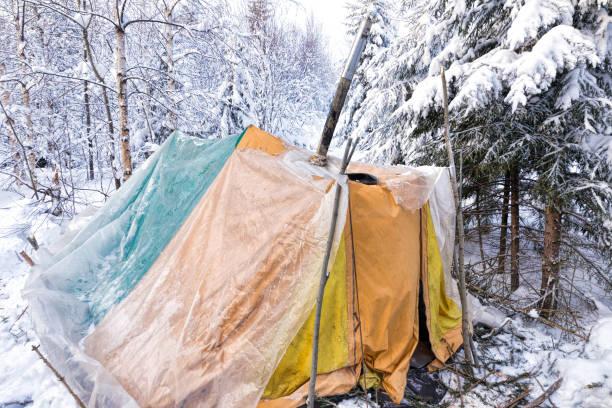 winterwald. alte gelbe zelt. winter-ski-ausflug - planenzelt stock-fotos und bilder