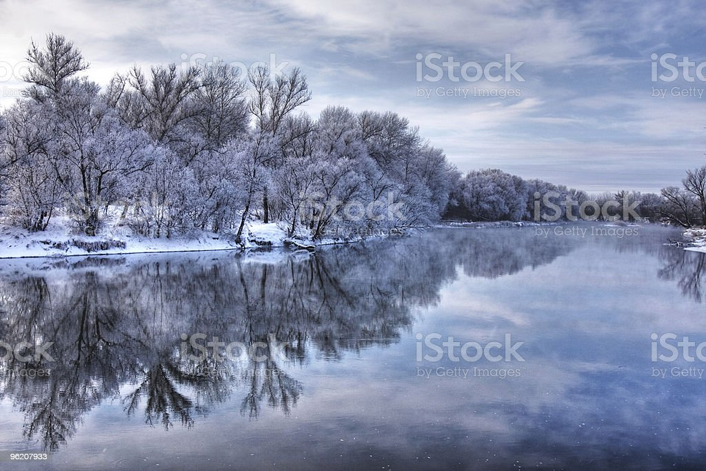 Winter forest river stock photo