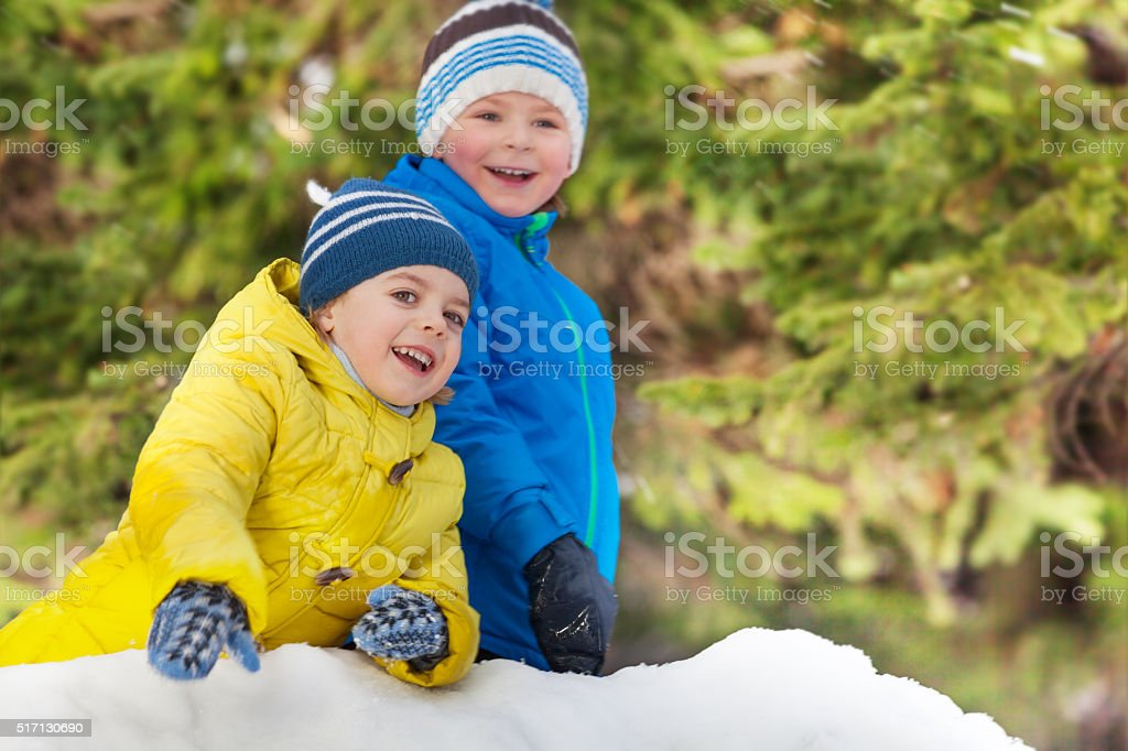 Winter fun with snow two smiling little boys stock photo