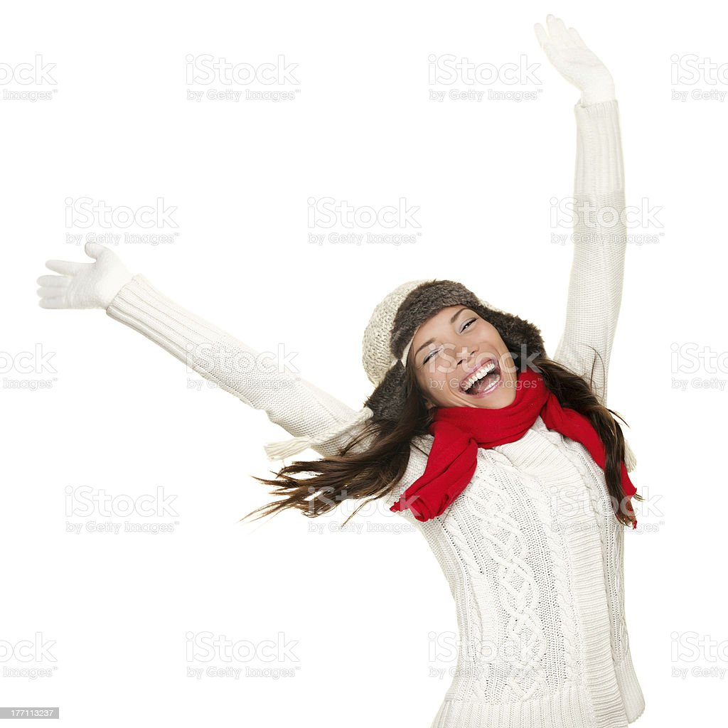 Winter fun woman winner and success concept royalty-free stock photo