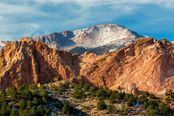 Winter Garden of the Gods Colorado stock photo