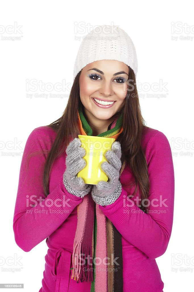 Winter girl holding yellow cup royalty-free stock photo