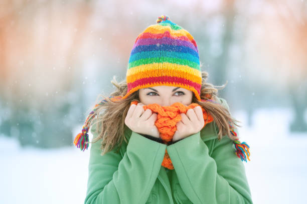 winter girl - weather stock photos and pictures