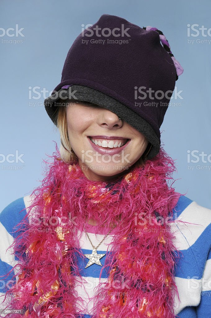 Winter girl playing silly royalty-free stock photo