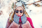 Winter girl with funny hat