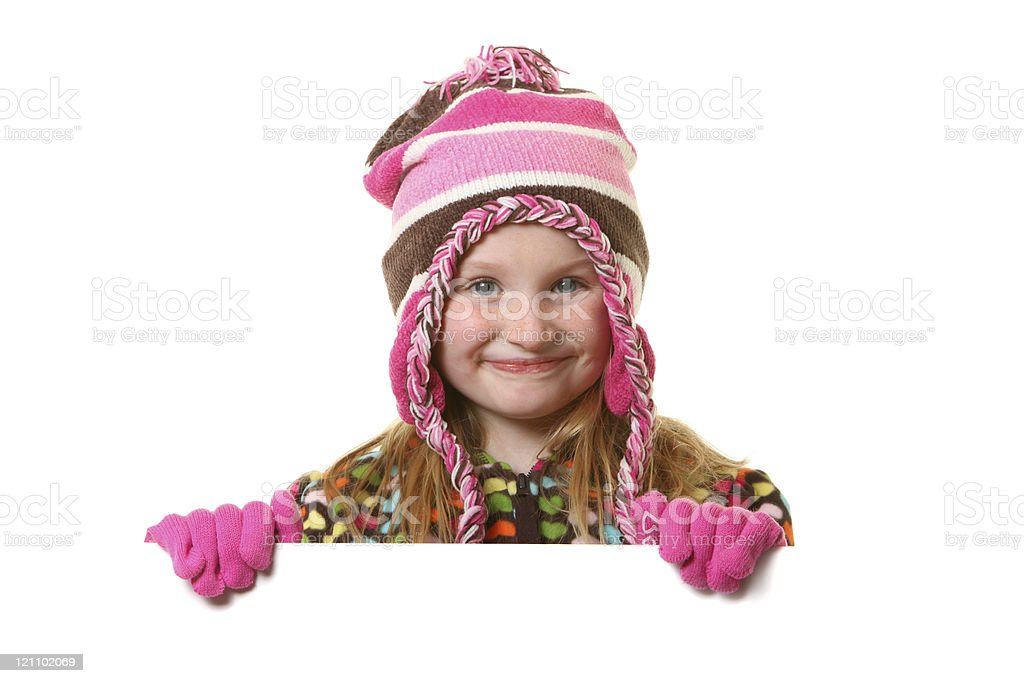 winter girl with sign stock photo