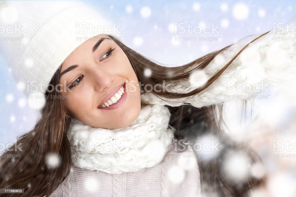 Winter girl with snowflakes royalty-free stock photo