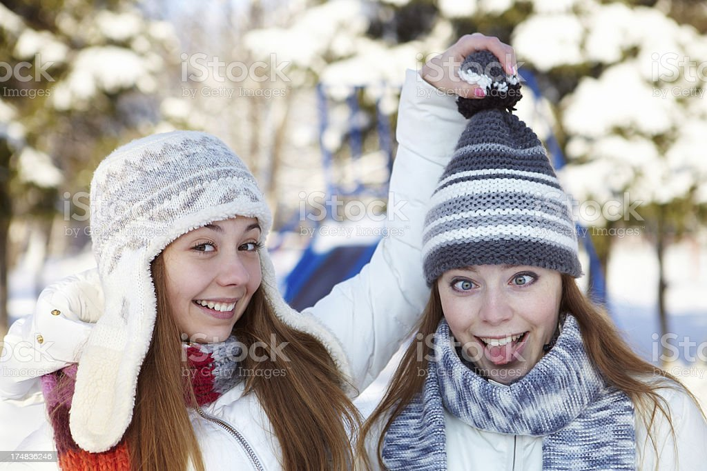 Winter. Girls outdoor. royalty-free stock photo