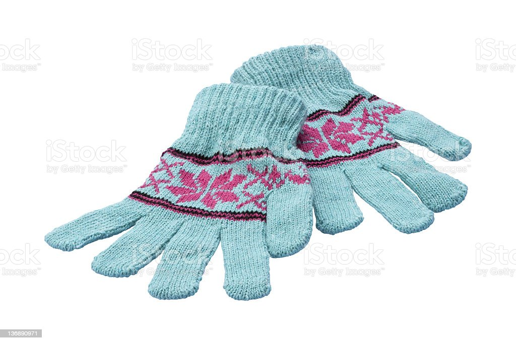 Winter gloves isolated on white stock photo