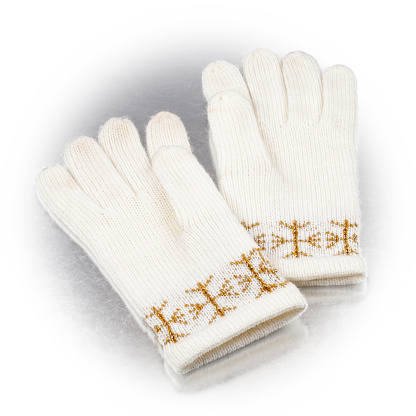 winter gloves on a white background