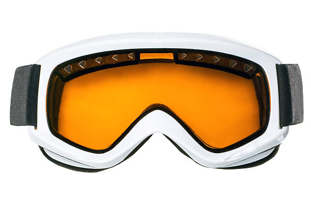 Winter goggles Ski goggles with orange glass isolated on white background ski goggles stock pictures, royalty-free photos & images
