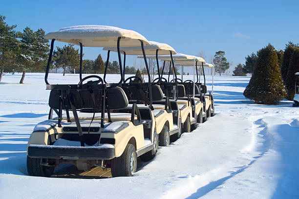 Winter Golf Carts stock photo