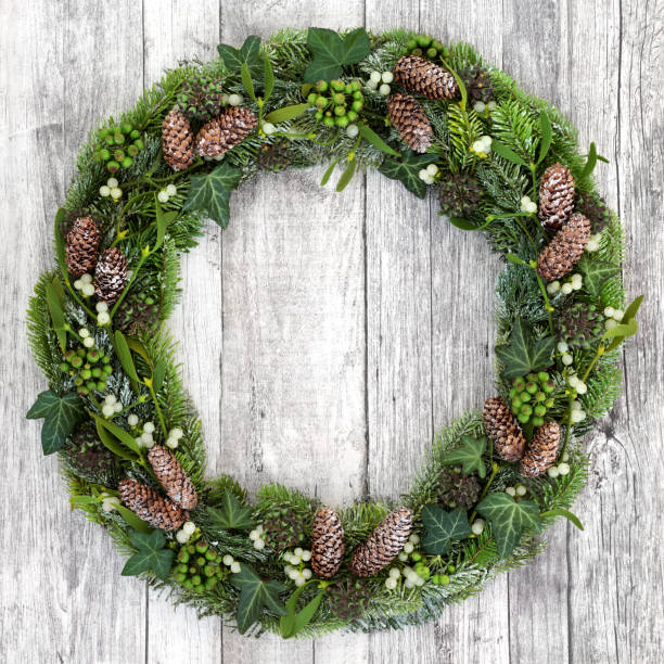 Winter Greenery Wreath stock photo