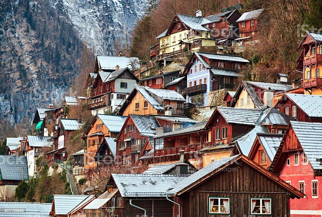 Winter Hallstatt village at morning, Austria stock photo