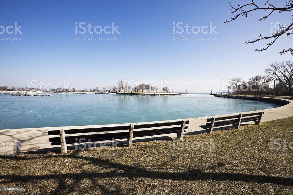 Winter Harbor North Chicago royalty-free stock photo