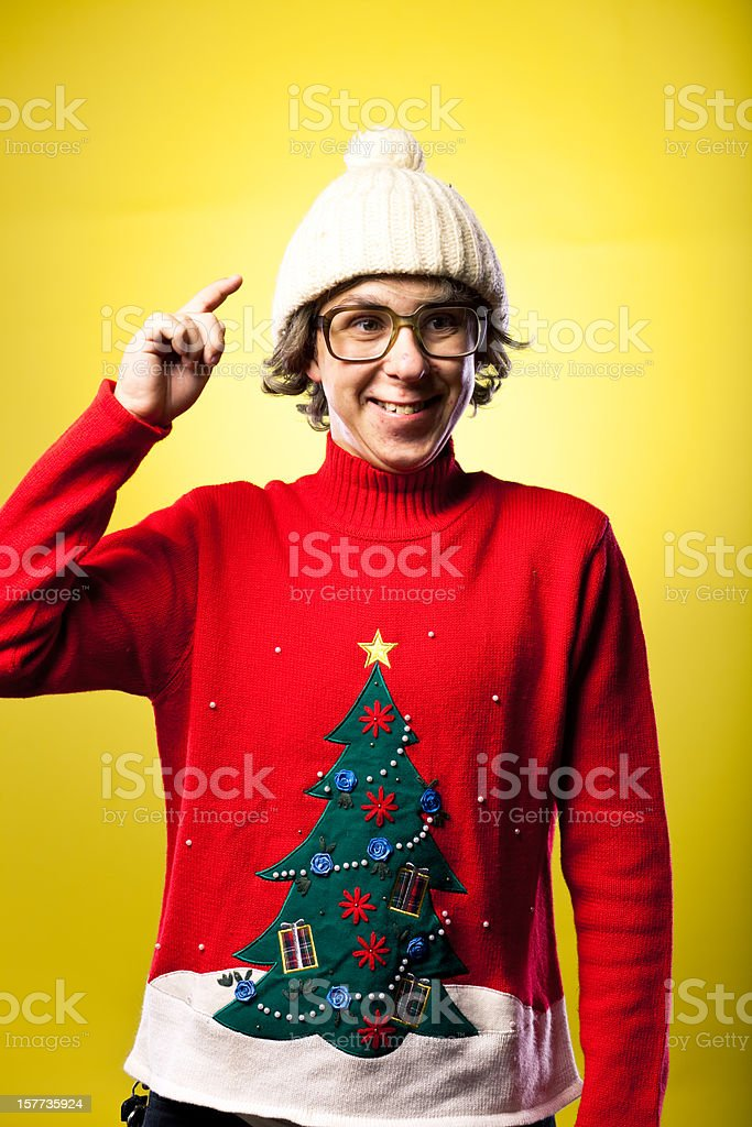 4d53645a9e8 Winter Hat And Sweater Wearing Goofy Face Making Teen Boy Stock ...