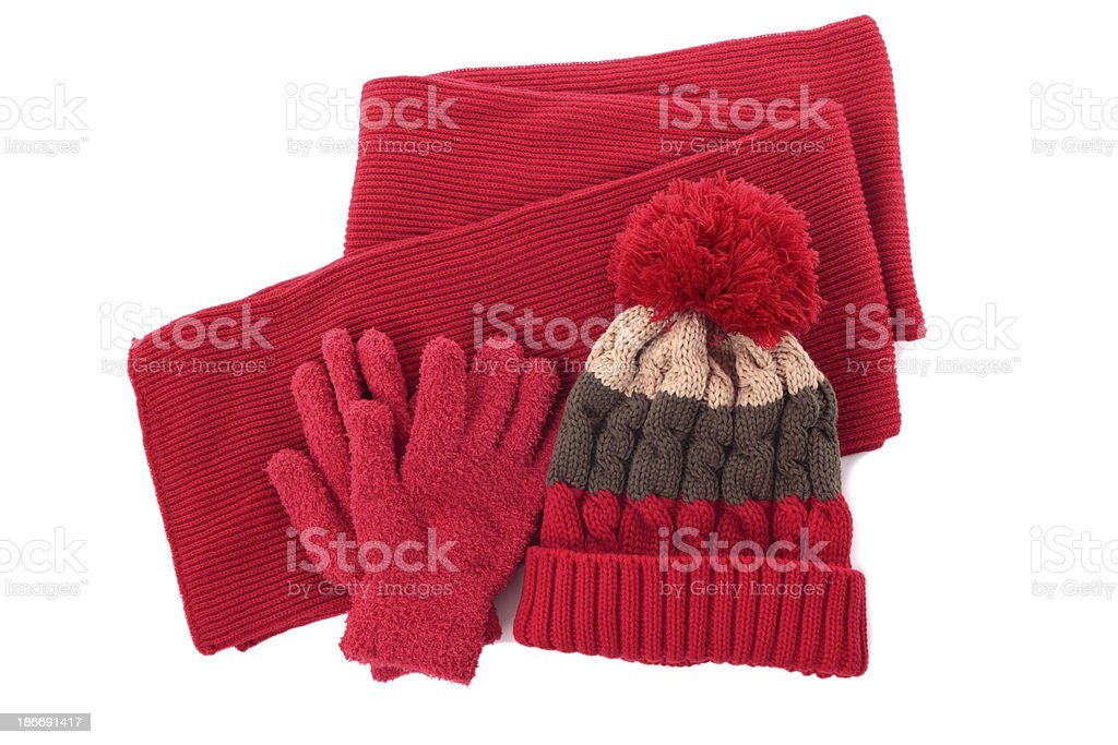 Winter hat, scarf and gloves stock photo