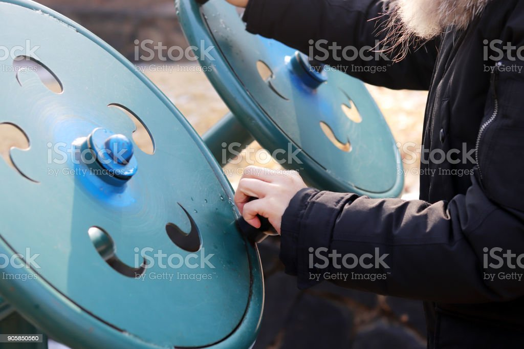 Winter health care. Exercise in the Park stock photo