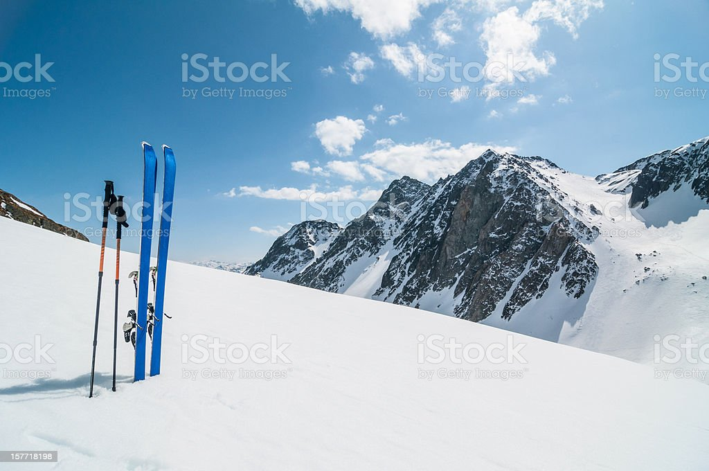 Winter High Mountain Landscape with ski stock photo