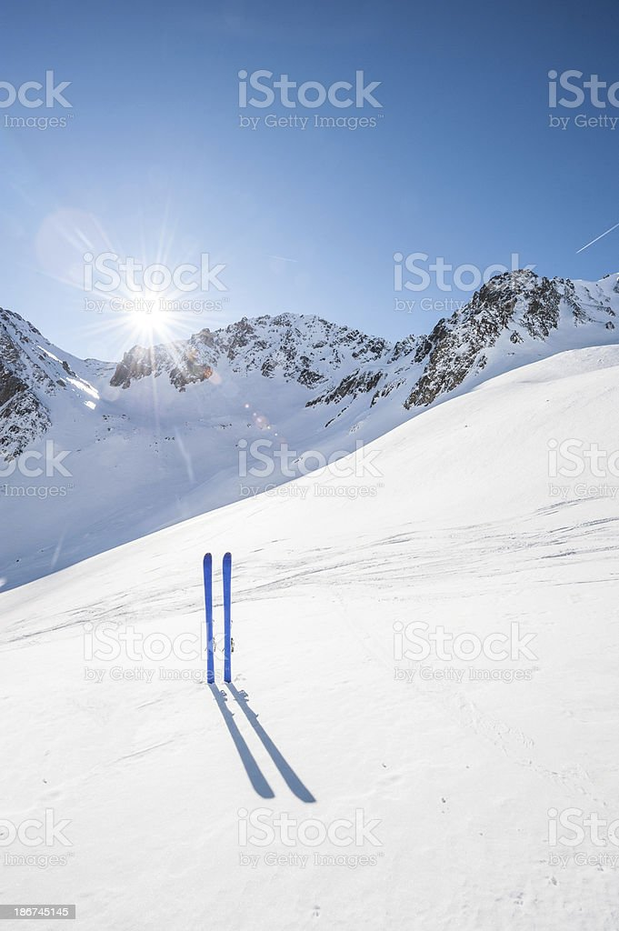 Winter High Mountain Landscape with ski royalty-free stock photo