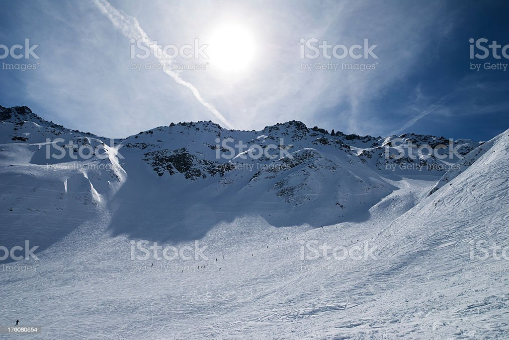 Winter High Mountain Panorama with Sun royalty-free stock photo