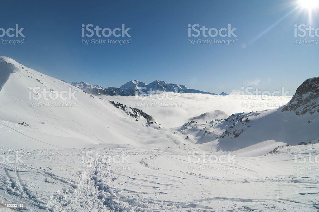 Winter High Mountain Panorama with Sun royalty-free stock photo