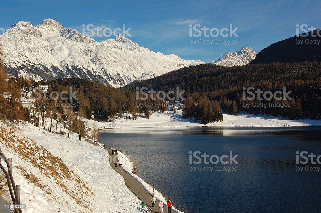 Winter Hike in Swiss Landscape royalty-free stock photo