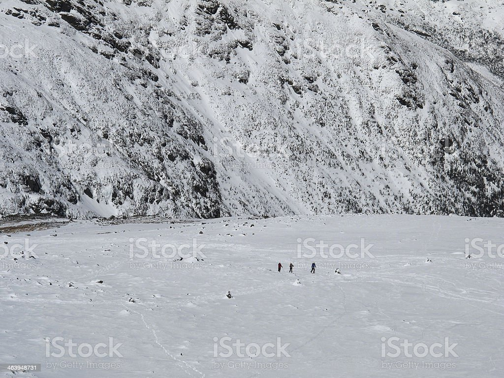 Winter Hikers on the Northern Flanks of Mt Washington stock photo