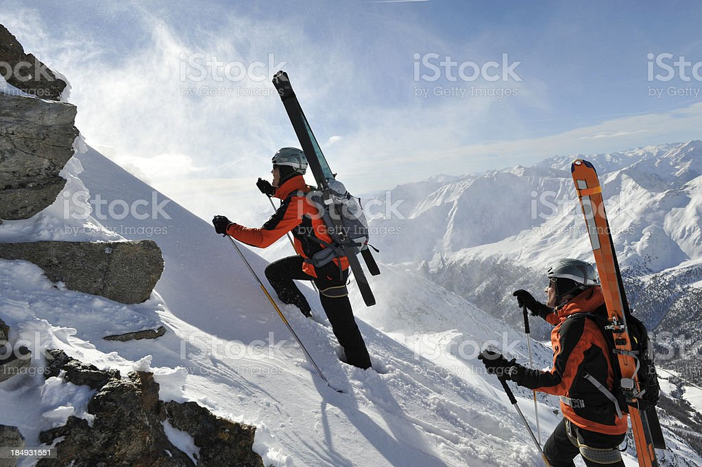 winter hiking extreme royalty-free stock photo