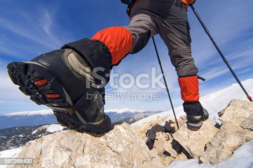 Winter Hiking In The Mountains Stock Photo & More Pictures of Adventure