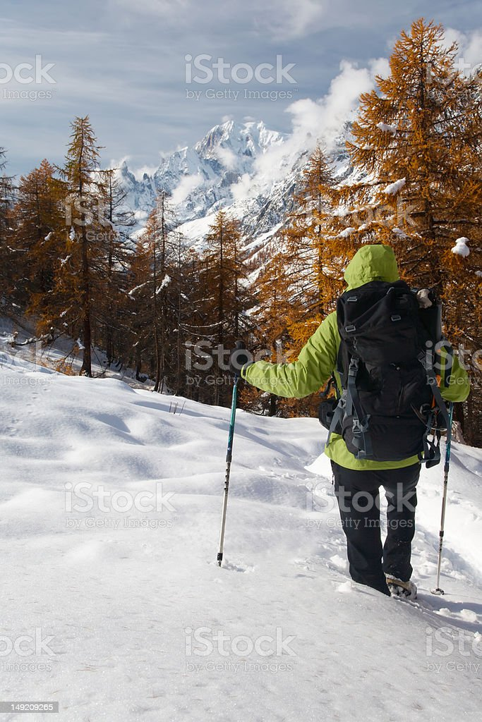 Winter hiking royalty-free stock photo