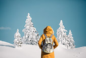 Idyllic winter landscape with woman hiking in a orange jacket.