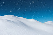 Idyllic snowy winter scene in the mountains.
