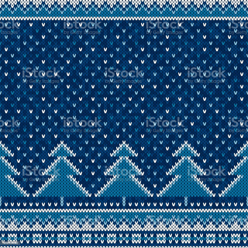 Winter Holiday Seamless Knit Pattern with Christmas Trees. Scheme for Knitted Sweater Pattern Design or Cross Stitch Embroidery - foto stock